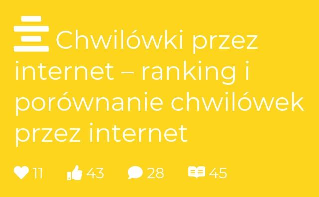 Chwilówki przez internet – ranking i porównanie chwilówek przez internet